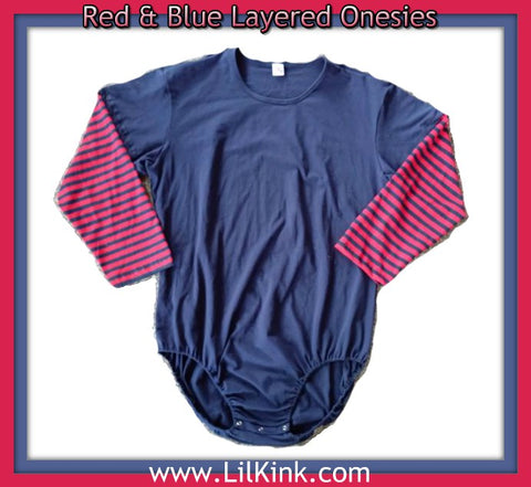 Red & Blue Layered Long Sleeve Onesies xs-4x