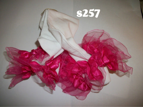 Ruffle Ribbon Socks S257  Hot Pink