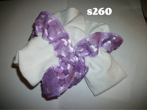 Ruffle Stars Purple Ribbon Socks S260