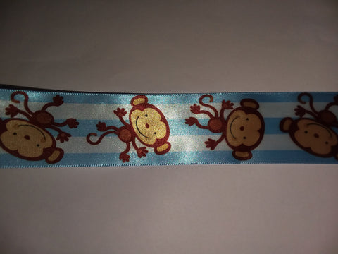 Monkeys blue Custom Made Ribbon Socks s329