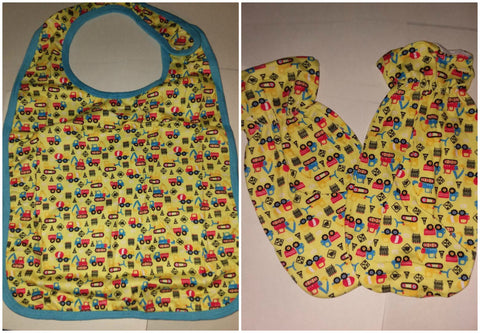 LIL CONSTRUCTION VEHICLES Matching 2pc Bib Mittens Set