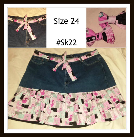 SK22 Kitty Skirt with matching belt & Hair Bows Size 24