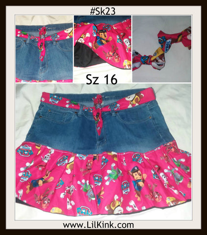 SK23 Paw Patrol Skirt with matching belt & Hair Bows Size 16