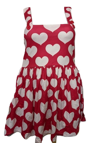 DISCONTINUED Suspender Red & White Hearts Jumper Skirt Dress Clearance