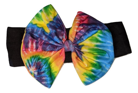 Tie Dyed Bow MATCHING Boutique Fabric Hairband Headband