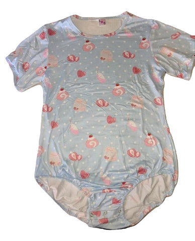 Lil Strawberry Sweeties Blue Short Sleeve Onesie designed by oddfoxshop