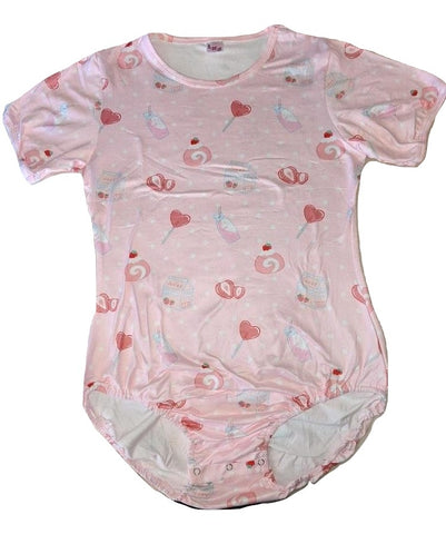 Lil Strawberry Sweeties Pink Short Sleeve Onesie designed by oddfoxshop