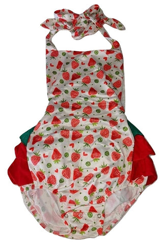 Lil Strawberry Ruffle Halter Sunsuit Romper