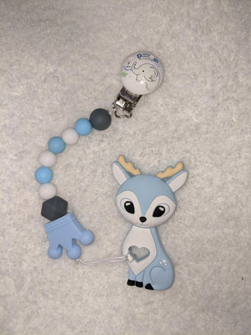 SILICONE TEETHER CHEWING TOY PACIFIER CLIP Deer TC766