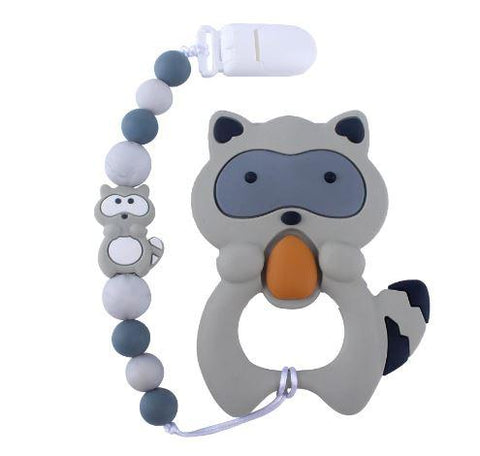 SILICONE TEETHER CHEWING TOY PACIFIER CLIP RACCOON TC903