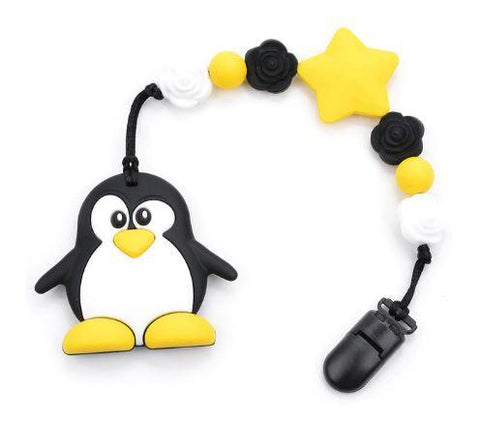 SILICONE TEETHER CHEWING TOY PACIFIER CLIP PENGUIN TC907