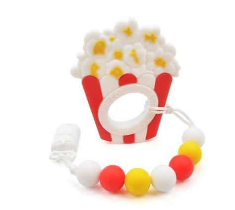 SILICONE TEETHER CHEWING TOY PACIFIER CLIP Food POPCORN TC908