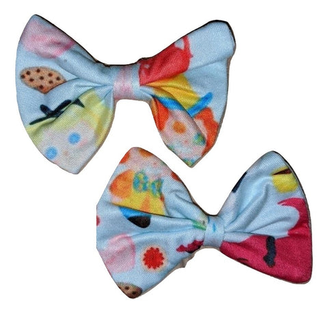 LIL TEA PARTY Matching Boutique Fabric Hair Bow 2pc Set