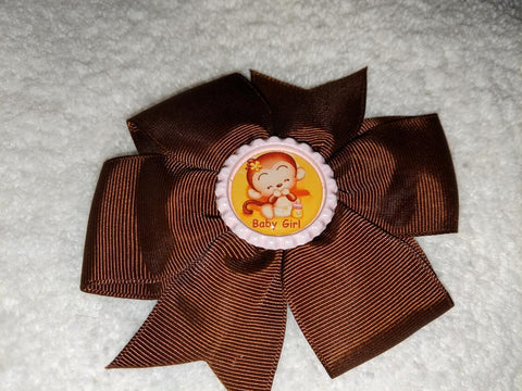 Baby Girl Monkey Bottle Cap Boutique Hair Bow