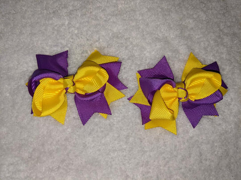 "2 Color Mix Boutique 2 pc 3"" hair bows set Purple/Yellow #110"