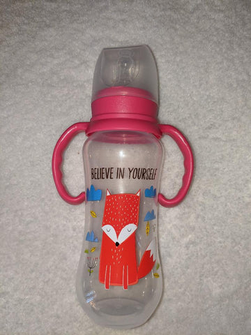 "Fox ""Believe in Yourself' Bottle with removable handles and silicone teat"