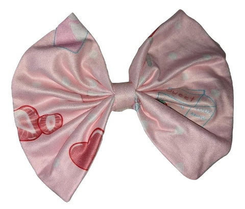 LIL STRAWBERRY SWEETIES Pink MATCHING Boutique Fabric large Hair Bow DESIGNED BY ODDFOXSHOP