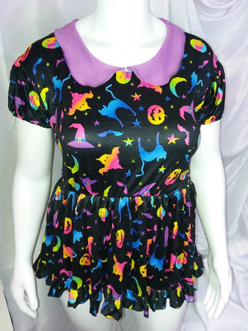 DISCONTINUED Abstract Rainbow Halloween Romper Bodysuit Dress Clearance xxs & xs only