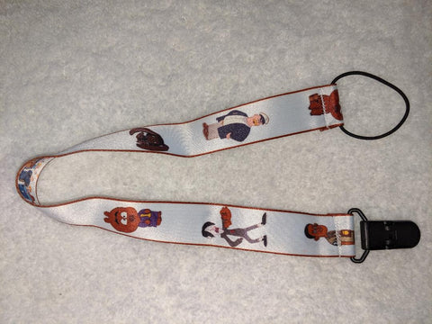 "Bear Cartoon Double Sided Fabric Pacifier Clips - 17"" #D"