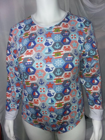 DISCONTINUED Long Sleeve NAUTICAL SAILBOAT Onesie Clearance XXs & XS only
