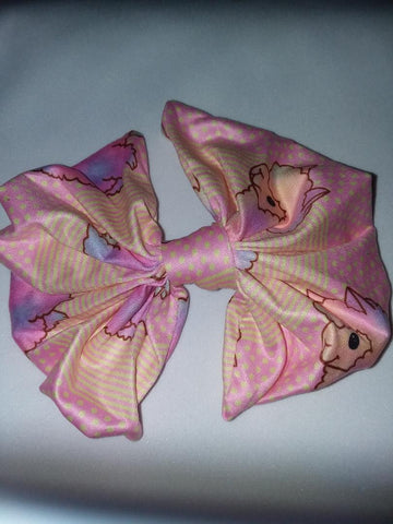 DISCONTINUED COTTON CANDY LLAMAS MATCHING Boutique Fabric Hair Bow