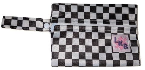 Black & White Checkers PACIFIER CARRYING CASE BAG