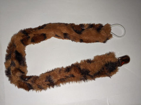 Monster Fur DELUXE CUSTOM PACIFIERS CLIPS Brown Cheetah Print