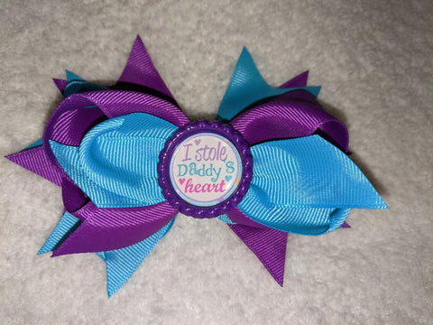 I Stole Daddy's Heart Bottle Cap Boutique Hair Bow