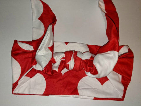 RED & WHITE HEARTS MATCHING Boutique Fabric Hairband Headband