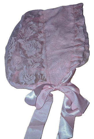 Adult Baby Bonnets Lace Pink