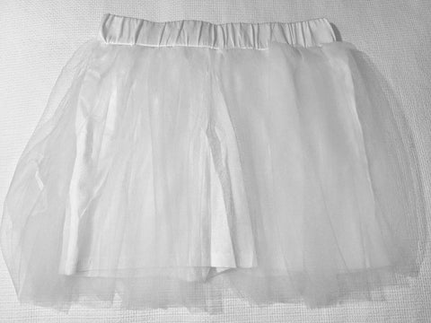 White Tulle Shorts Skorts