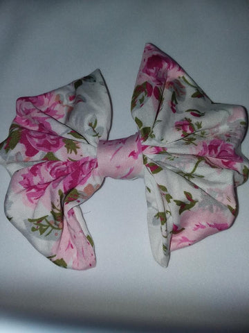 DISCONTINUED FLORAL FLUTTER MATCHING Boutique Fabric Hair Bow