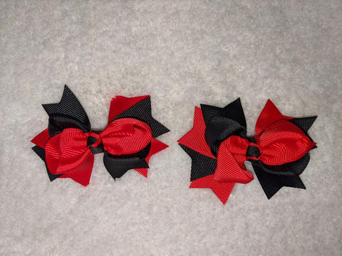 "2 Color Mix Boutique 2 pc 3"" hair bows set Black/Red #101"