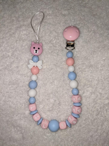 Lil Bear SILICONE TEETHER CHEWING PACIFIER CLIP XLarge