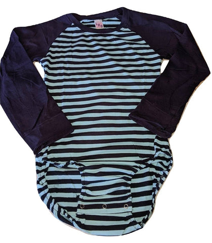 Blue Stripes Long Sleeve Raglan Cotton Onesie