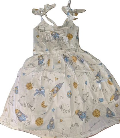 DISCONTINUED Lil One Embroidered Space Smock Halter Summer Dress * LOOK AT MEASUREMENT Clearance