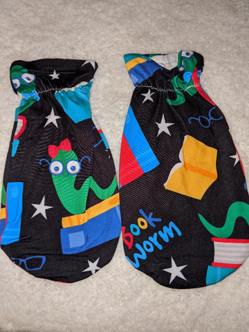DISCONTINUED BLACK LIL BOOK WORM Matching Adult Mittens Clearance
