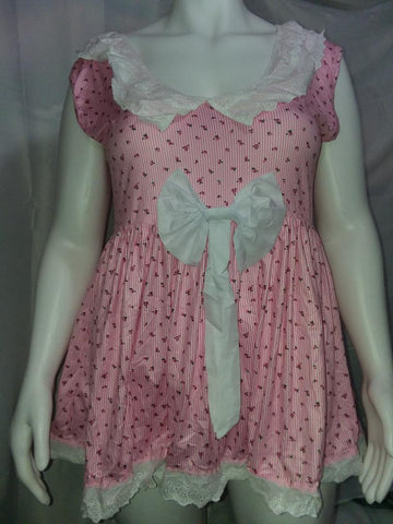 Pink Flower Eyelet Collar Summer Dress