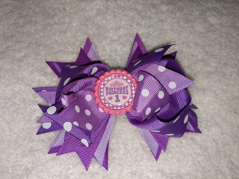 Birthday Princess Bottle Cap Boutique Hair Bow