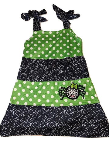 DISCONTINUED Halloween Spider Black & Green Dots TIE STRAP TIERED Dress Clearance