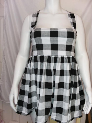 DISCONTINUED Suspender Black & White Jumper Skirt Dress Clearance xxs & xs only