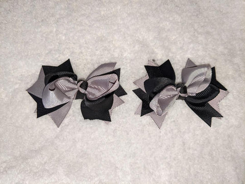 "2 Color Mix Boutique 2 pc 3"" hair bows set Black/Grey #100"