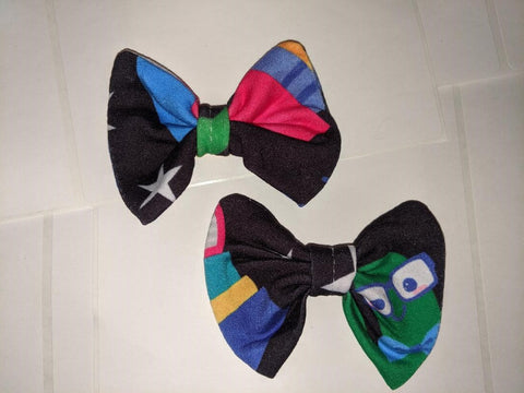 DISCONTINUED LIL BOOK WORM Black Matching Boutique Fabric Hair Bow 2pc Set Clearance