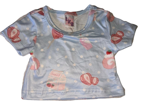 LIL STRAWBERRY SWEETIES BLUE Stuffy Matching Shirt DESIGNED BY ODDFOXSHOP