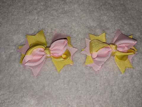 "2 Color Mix Boutique 2 pc 3"" hair bows set Yellow/Pink #107"