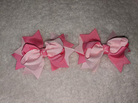 "2 Color Mix Boutique 2 pc 3"" hair bows set Pink/Hot Pink #105"