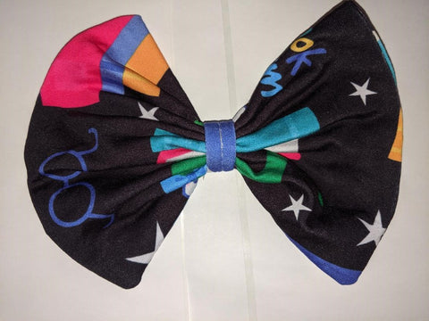 DISCONTINUED LIL BOOK WORM Black Matching Boutique Fabric Hair Bow Clearance