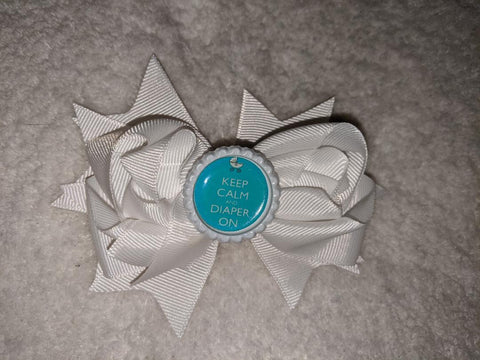 Keep Calm and Diaper on Bottle Cap Boutique Hair Bow