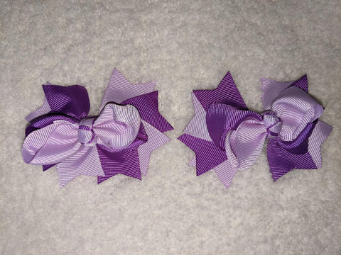 "2 Color Mix Boutique 2 pc 3"" hair bows set Purple/Light Purple #111"