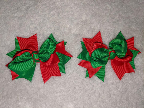 "2 Color Mix Boutique 2 pc 3"" hair bows set Green/Red #108"